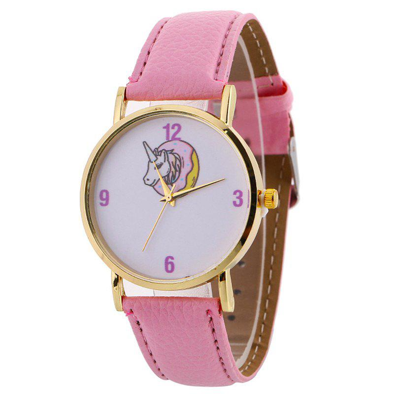 Faux Leather Strap Unicorn Number WatchJEWELRY<br><br>Color: PINK; Gender: For Women; Style: Fashion; Type: Quartz watch; Index Dial: Analog; Case material: Alloy; Band material: PU Leather; Movement: Quartz; Dial Shape: Round; Water-Proof: No; Case Thickness(MM): 8mm; Dial Diameter: 3.8cm; Band Length(CM): 24cm; Band Width(CM): 1cm; Package Contents: 1 x Watch;