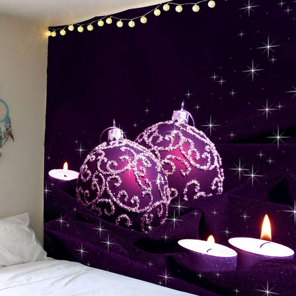 Purple Ball Candles Printed Waterproof Wall Art TapestryHOME<br><br>Size: W59 INCH * L51 INCH; Color: LIGHT PURPLE; Style: Festival; Theme: Christmas; Material: Polyester; Feature: Removable,Washable,Waterproof; Shape/Pattern: Ball,Candle; Weight: 0.2100kg; Package Contents: 1 x Tapestry;