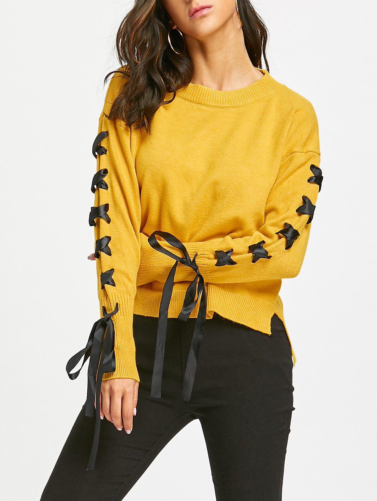 High Low Lace Up Drop Shoulder SweaterWOMEN<br><br>Size: ONE SIZE; Color: YELLOW; Type: Pullovers; Material: Acrylic; Sleeve Length: Full; Collar: Crew Neck; Style: Casual; Pattern Type: Solid; Embellishment: Bowknot,Lace up; Season: Fall,Spring,Winter; Weight: 0.5500kg; Package Contents: 1 x Sweater;