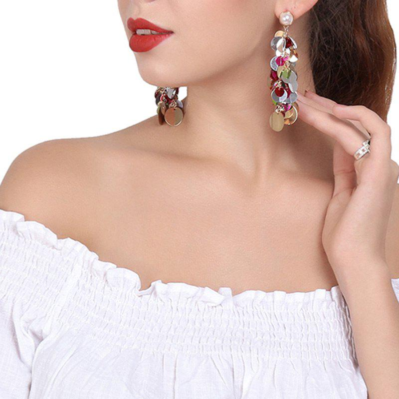 Faux Pearl Linked Paillette Stud Drop EarringsJEWELRY<br><br>Color: COLORFUL; Earring Type: Drop Earrings; Gender: For Women; Metal Type: Alloy; Style: Trendy; Shape/Pattern: Others; Length: 8cm; Weight: 0.0130kg; Package Contents: 1 x Earrings (Pair);