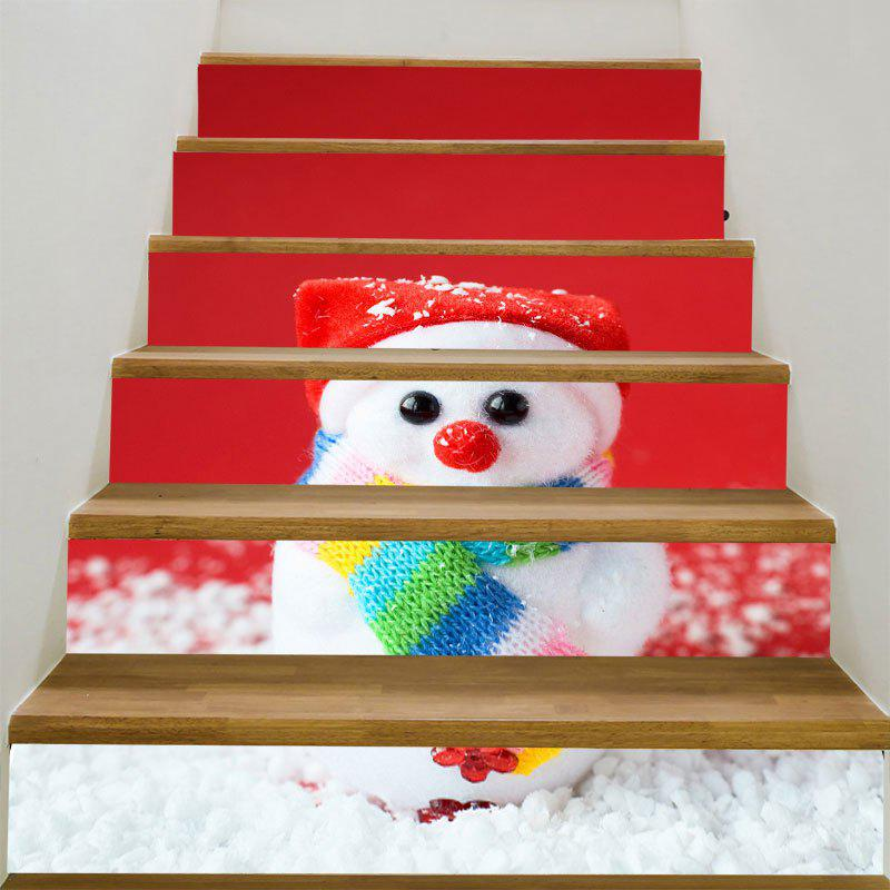 Christmas Small Snowman Patterned Stair StickersHOME<br><br>Size: 6PCS:39*7 INCH( NO FRAME ); Color: RED AND WHITE; Wall Sticker Type: 3D Wall Stickers; Functions: Stair Stickers; Theme: Christmas; Pattern Type: Snowman; Material: PVC; Feature: Removable; Weight: 0.3100kg; Package Contents: 6 x Stair Stickers (Pcs);