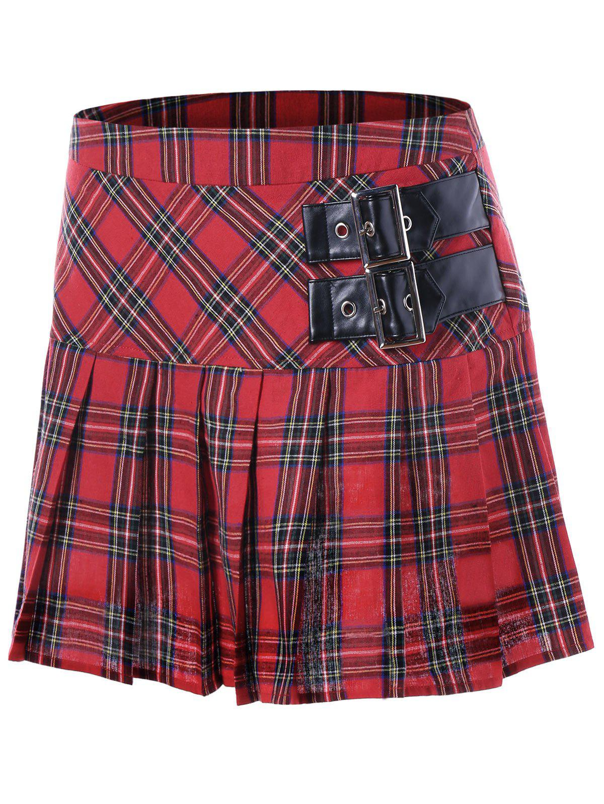 Buckles Pleated A-line Plaid SkirtWOMEN<br><br>Size: M; Color: RED; Material: Cotton; Length: Mini; Silhouette: A-Line; Pattern Type: Plaid; Season: Fall,Spring; Weight: 0.1840kg; Package Contents: 1 x Skirt;