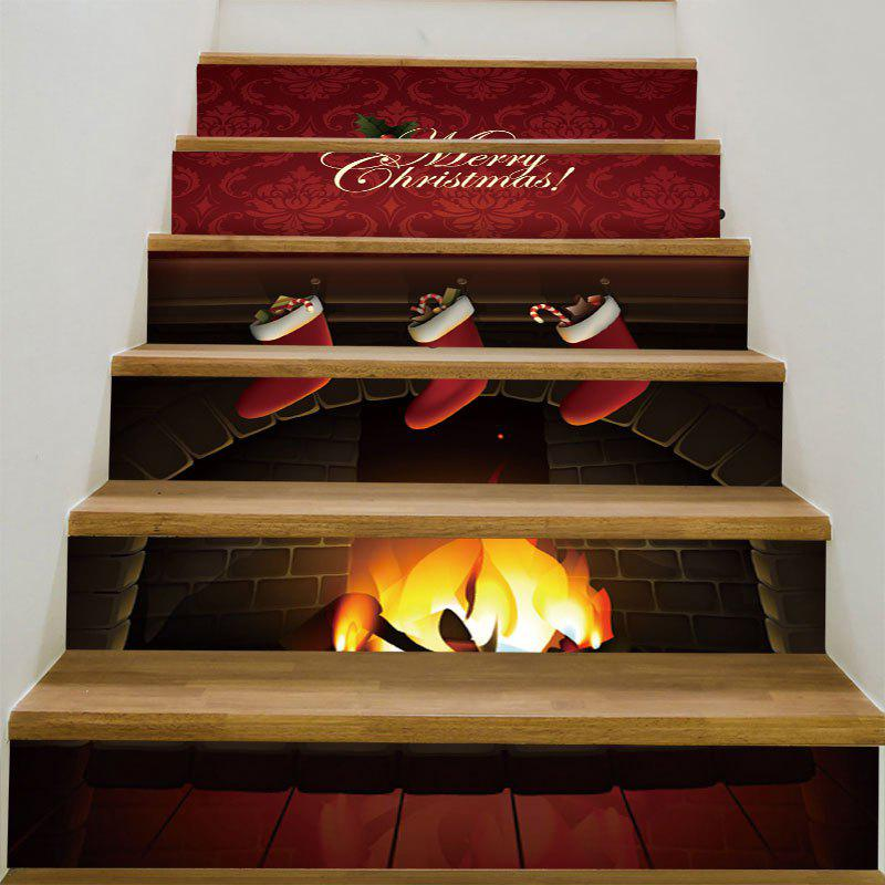 Christmas Burning Fireplace Patterned Stair StickersHOME<br><br>Size: 6PCS:39*7 INCH( NO FRAME ); Color: DEEP RED; Wall Sticker Type: 3D Wall Stickers; Functions: Stair Stickers; Theme: Christmas; Pattern Type: Floral,Print; Material: PVC; Feature: Removable; Weight: 0.3100kg; Package Contents: 6 x Stair Stickers (Pcs);