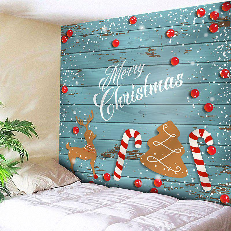 Merry Christmas Tree Candy Cane Deer Print Wall TapestryHOME<br><br>Size: W59 INCH * L59 INCH; Color: BLUE; Style: Festival; Theme: Christmas; Material: Nylon,Polyester; Feature: Removable,Washable; Shape/Pattern: Animal,Letter,Tree,Wood; Weight: 0.2000kg; Package Contents: 1 x Tapestry;