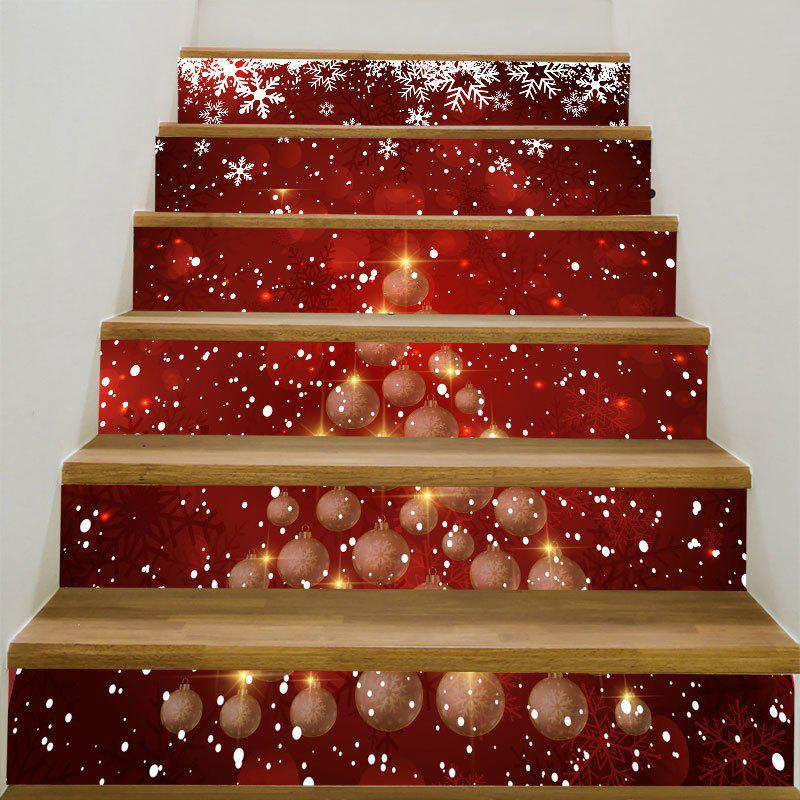 Snowflakes Balls Christmas Printed Stair StickersHOME<br><br>Size: 6PCS:39*7 INCH( NO FRAME ); Color: RED AND WHITE; Wall Sticker Type: 3D Wall Stickers; Functions: Stair Stickers; Theme: Christmas; Pattern Type: Ball,Print; Material: PVC; Feature: Removable; Weight: 0.3100kg; Package Contents: 6 x Stair Stickers (Pcs);