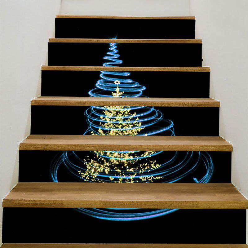 Shiny Christmas Tree Pattern Staircase StickersHOME<br><br>Size: 6PCS:39*7 INCH( NO FRAME ); Color: BLACK AND BLUE YELLOW; Wall Sticker Type: 3D Wall Stickers; Functions: Stair Stickers; Theme: Christmas; Pattern Type: Christmas Tree; Material: PVC; Feature: Removable; Weight: 0.3100kg; Package Contents: 6 x Stair Stickers (Pcs);
