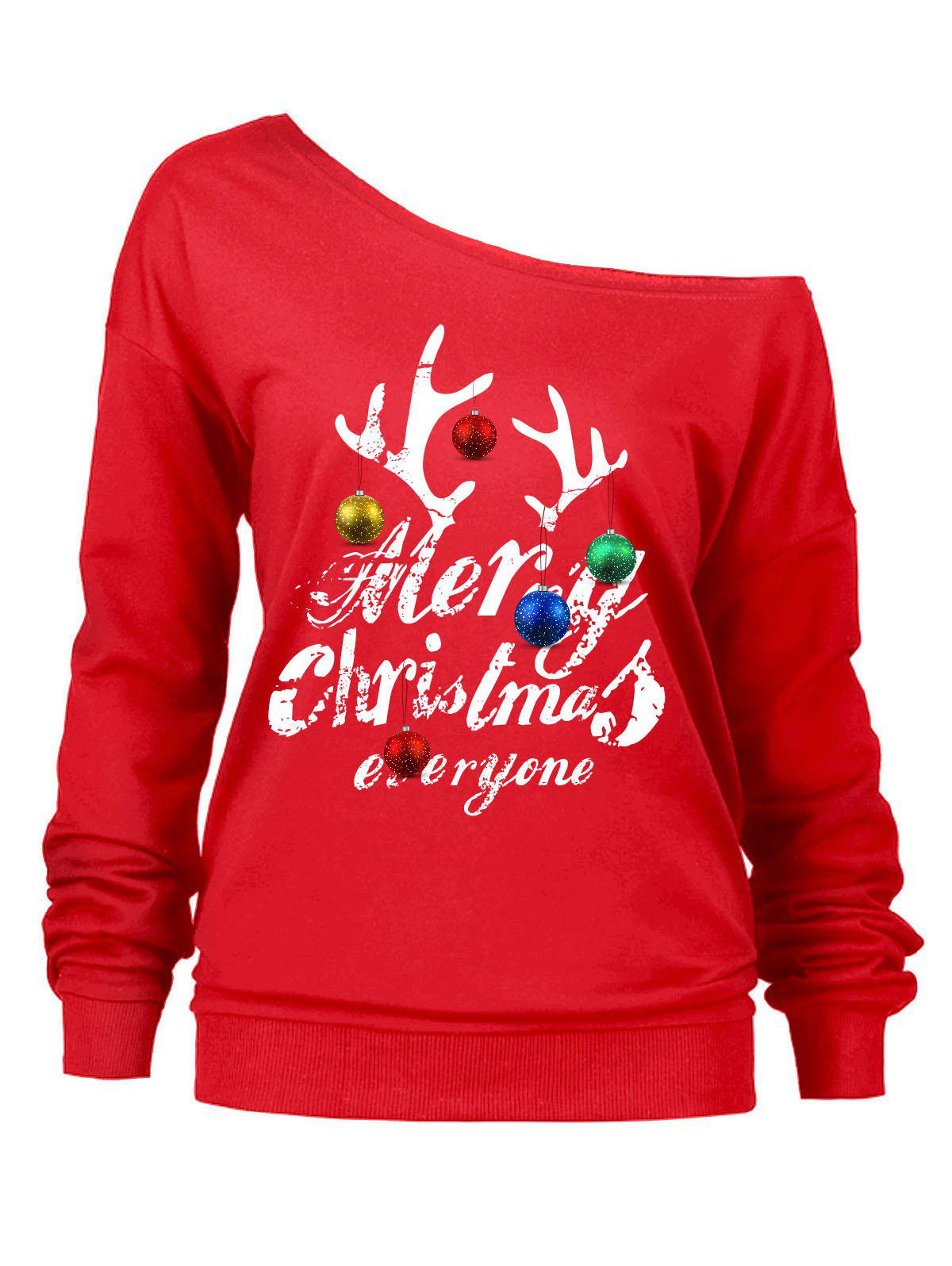 Christmas Letters Bells Print Skew Neck SweatshirtWOMEN<br><br>Size: XL; Color: RED; Material: Polyester; Shirt Length: Regular; Sleeve Length: Full; Style: Fashion; Pattern Style: Letter,Print; Season: Fall,Spring,Winter; Weight: 0.3600kg; Package Contents: 1 x Sweatshirt;