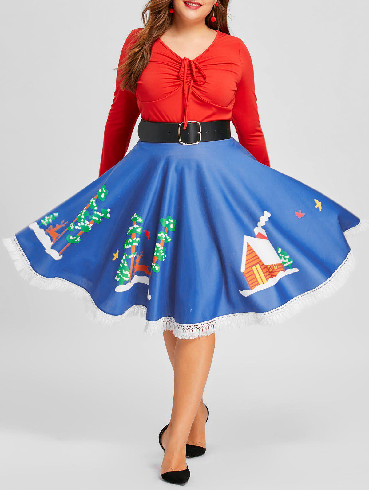 Plus Size Christmas Print Flare Fringed Hem SkirtWOMEN<br><br>Size: 5XL; Color: BLUE; Material: Polyester; Length: Knee-Length; Silhouette: A-Line; Pattern Type: Print; Embellishment: Fringed; Season: Fall,Spring; With Belt: No; Weight: 0.3100kg; Package Contents: 1 x Skirt;