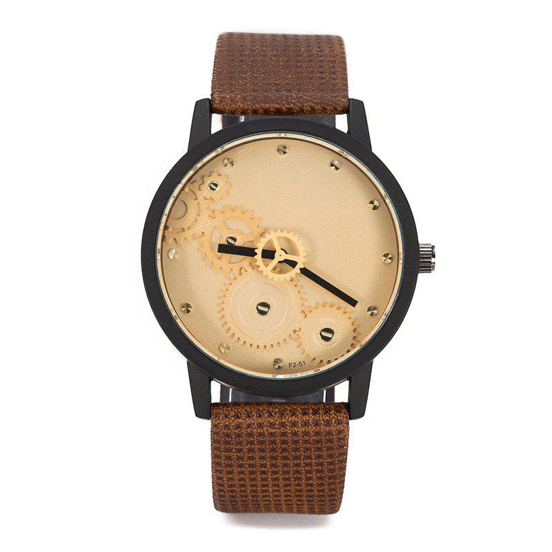 Gear Face Faux Leather Strap WatchJEWELRY<br><br>Color: BROWN; Gender: For Men; Style: Fashion; Type: Quartz watch; Index Dial: Analog; Case material: Alloy; Band material: PU Leather; Movement: Quartz; Dial Shape: Round; Water-Proof: No; Package Contents: 1 x Watch;