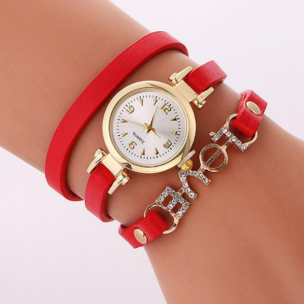 Rhinestone Love Wrap Bracelet WatchJEWELRY<br><br>Color: RED; Gender: For Women; Style: Fashion; Type: Quartz watch; Index Dial: Analog; Case material: Alloy; Band material: PU Leather; Movement: Quartz; Dial Shape: Round; Water-Proof: No; Case Thickness(MM): 6mm; Dial Diameter: 2.4cm; Band Length(CM): 56cm; Band Width(CM): 1cm; Package Contents: 1 x Watch;