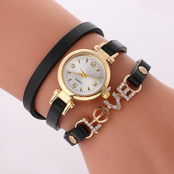 Rhinestone Love Wrap Bracelet WatchJEWELRY<br><br>Color: BLACK; Gender: For Women; Style: Fashion; Type: Quartz watch; Index Dial: Analog; Case material: Alloy; Band material: PU Leather; Movement: Quartz; Dial Shape: Round; Water-Proof: No; Case Thickness(MM): 6mm; Dial Diameter: 2.4cm; Band Length(CM): 56cm; Band Width(CM): 1cm; Package Contents: 1 x Watch;