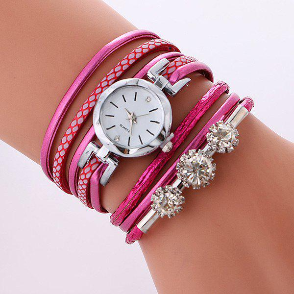 Outfits Rhinestone Wrap Bracelet Quartz Watch