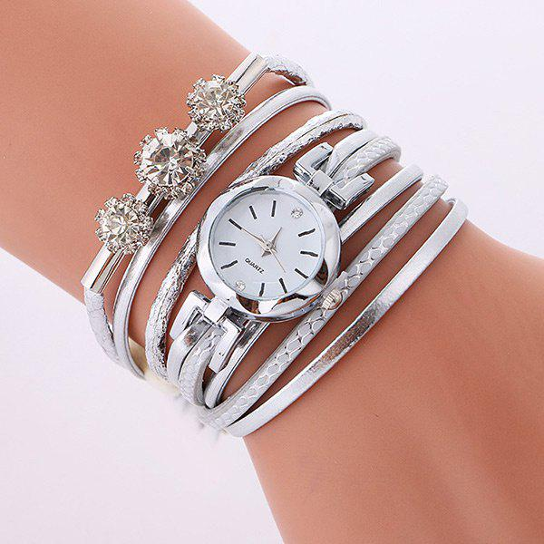 Rhinestone Wrap Bracelet Quartz WatchJEWELRY<br><br>Color: SILVER; Gender: For Women; Style: Fashion; Type: Quartz watch; Index Dial: Analog; Case material: Alloy; Band material: PU Leather; Movement: Quartz; Dial Shape: Round; Water-Proof: No; Case Thickness(MM): 7mm; Dial Diameter: 2.2cm; Band Length(CM): 40cm; Package Contents: 1 x Watch;
