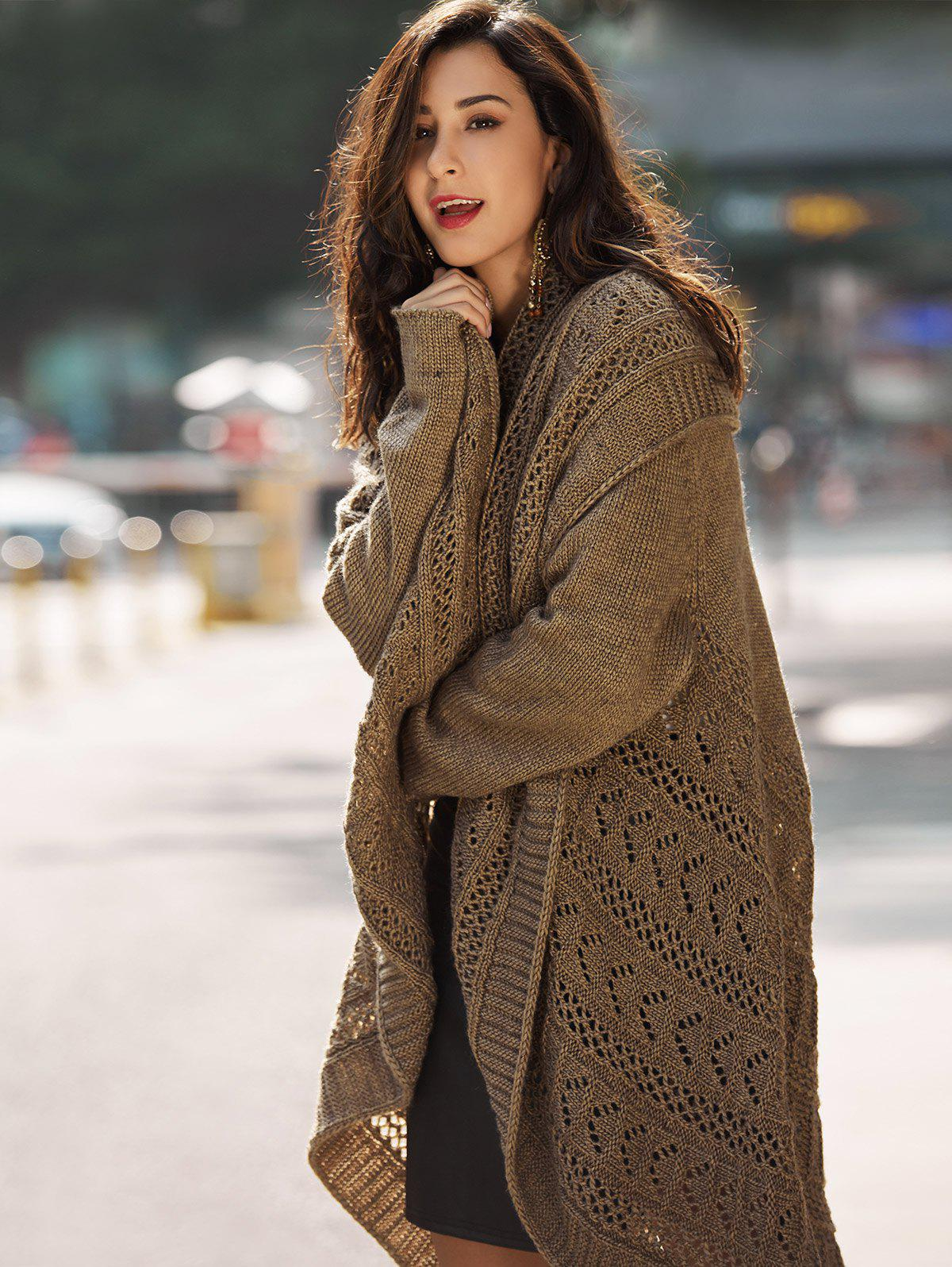 Drop Shoulder Crochet Knit Long CardiganWOMEN<br><br>Size: ONE SIZE; Color: BROWN; Type: Cardigans; Material: Acrylic; Sleeve Length: Full; Collar: Turn-down Collar; Technics: Crocheted; Style: Casual; Pattern Type: Solid; Embellishment: Hollow Out; Season: Fall,Spring,Winter; Weight: 0.9400kg; Package Contents: 1 x Cardigan;