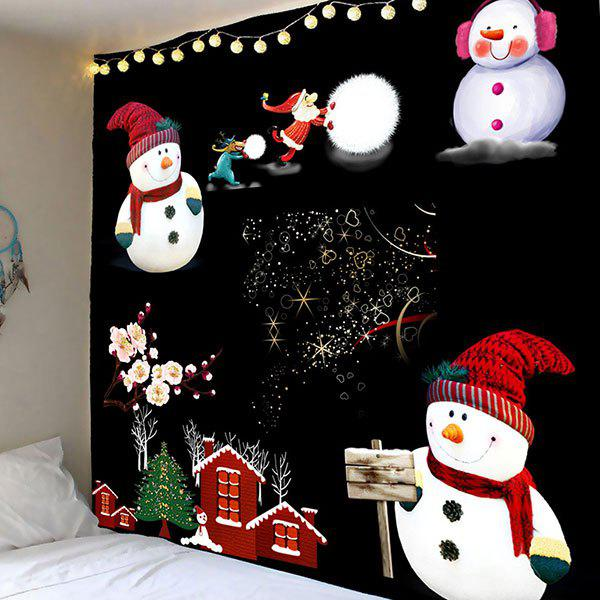 Waterproof Snowmen Pattern Wall TapestryHOME<br><br>Size: W71 INCH * L71 INCH; Color: COLORFUL; Products Type: Bath rugs; Materials: Polyester; Pattern: Snowman; Style: Cute; Package Contents: 1 x Tapestry;