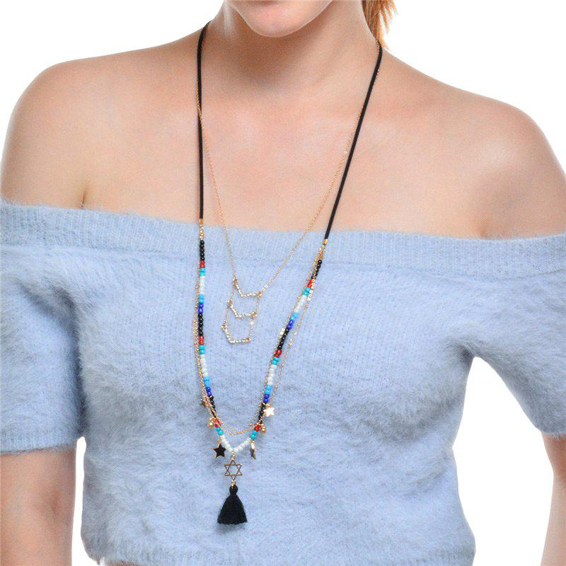 Mutilayered Star Chain Tassel PendantsJEWELRY<br><br>Color: GOLDEN; Item Type: Pendant Necklace; Gender: For Women; Metal Type: Alloy; Style: Trendy; Shape/Pattern: Star,Tassel; Length: 64cm+10cm; Weight: 0.0220kg; Package Contents: 1 x Necklace;