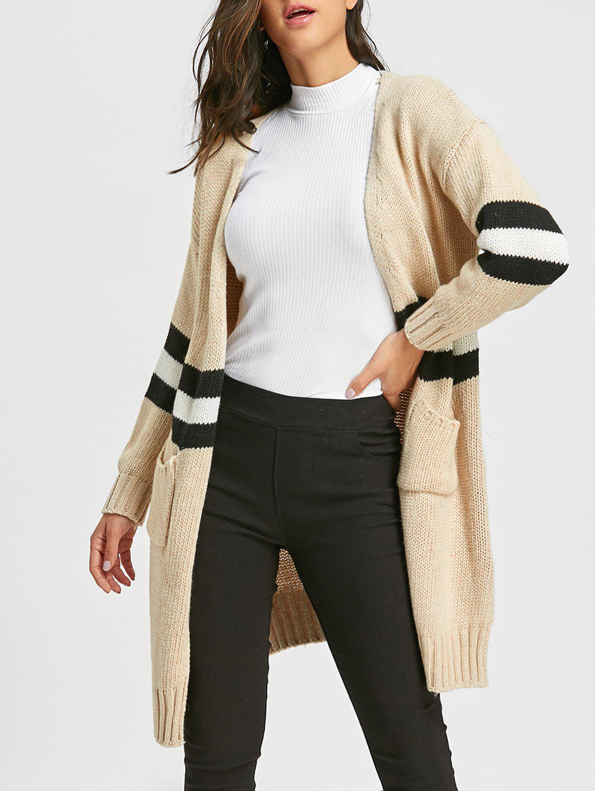Cheap Stripe Side Slit Open Front Cardigan