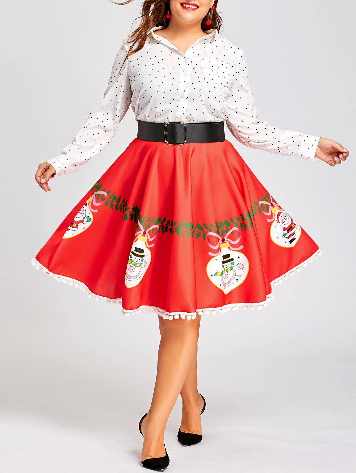 Plus Size Christmas Print Pom Pom Trimmed Flare SkirtWOMEN<br><br>Size: 5XL; Color: RED; Material: Polyester; Length: Knee-Length; Silhouette: A-Line; Pattern Type: Print; Season: Fall; With Belt: No; Weight: 0.3100kg; Package Contents: 1 x Skirt;