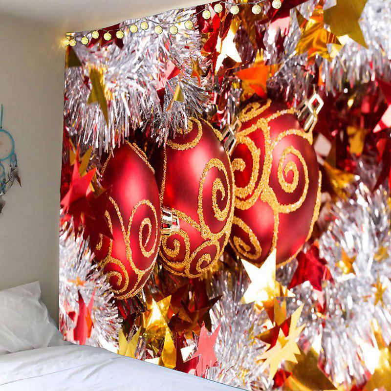 Waterproof Merry Christmas Balls Printed Wall TapestryHOME<br><br>Size: W59 INCH * L51 INCH; Color: RED; Style: Festival; Theme: Christmas; Material: Polyester; Feature: Removable,Washable,Waterproof; Shape/Pattern: Ball; Weight: 0.2100kg; Package Contents: 1 x Tapestry;