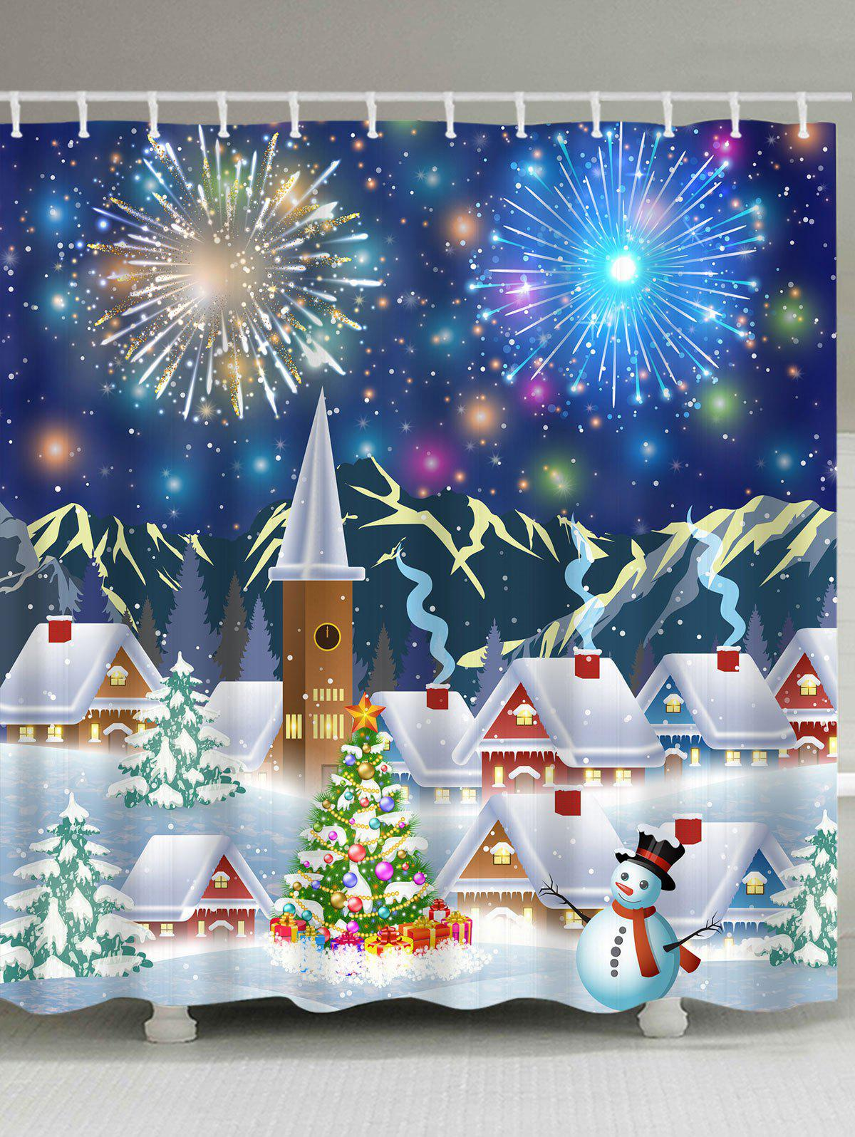 Christmas Fireworks Town Print Polyester Waterproof Shower CurtainHOME<br><br>Size: W71 INCH * L79 INCH; Color: COLORMIX; Products Type: Shower Curtains; Materials: Polyester; Style: Festival; Number of Hook Holes: W59 inch*L71 inch: 10; W71 inch*L71 inch: 12; W71 inch*L79 inch: 12; Package Contents: 1 x Shower Curtain 1 x Hooks (Set);