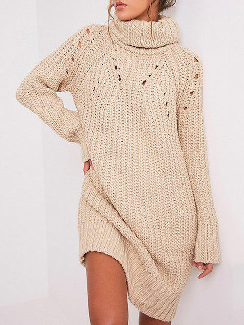 Ripped Turtle Neck Sweater DressWOMEN<br><br>Size: ONE SIZE; Color: CHAMPAGNE; Style: Casual; Material: Cotton,Nylon; Silhouette: Straight; Dresses Length: Mini; Neckline: Turtleneck; Sleeve Length: Long Sleeves; Pattern Type: Solid Color; With Belt: No; Season: Fall,Winter; Weight: 0.4700kg; Package Contents: 1 x Dress; Occasion: Causal,Night Out;