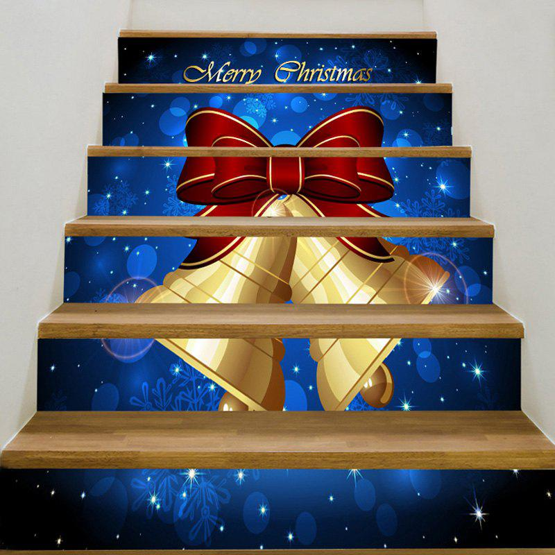 Decorative Christmas Bell Printed Stair StickersHOME<br><br>Size: 6PCS:39*7 INCH( NO FRAME ); Color: BLUE; Wall Sticker Type: Plane Wall Stickers; Functions: Stair Stickers; Theme: Christmas; Pattern Type: Print; Material: PVC; Feature: Removable; Weight: 0.3100kg; Package Contents: 1 x Stair Stickers (Set);