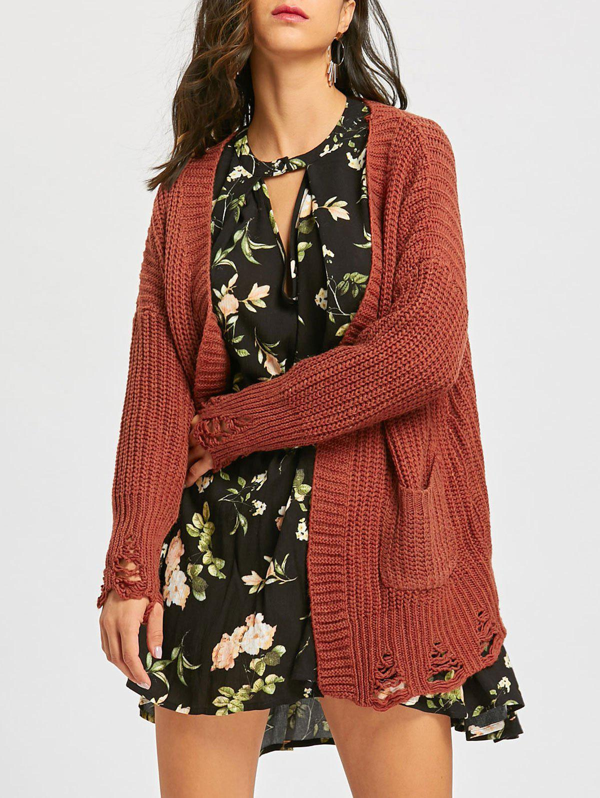 Outfit Open Front Ripped Chunky Tunic Cardigan