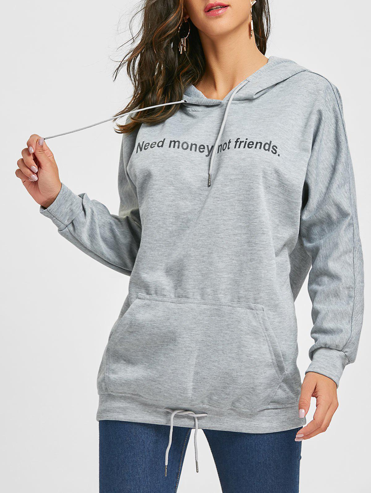 Affordable Front Pocket Tunic Graphic Hoodie