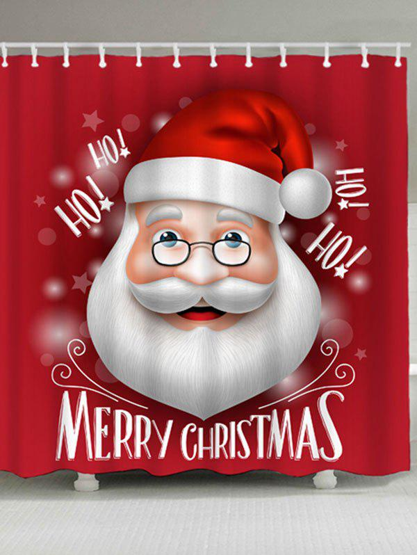 Santa Claus Print Waterproof Polyester Christmas Shower CurtainHOME<br><br>Size: W71 INCH * L79 INCH; Color: RED; Products Type: Shower Curtains; Materials: Polyester; Pattern: Santa Claus; Style: Festival; Number of Hook Holes: W59 inch*L71 inch: 10; W71 inch*L71 inch: 12; W71 inch*L79 inch: 12; Package Contents: 1 x Shower Curtain 1 x Hooks (Set);