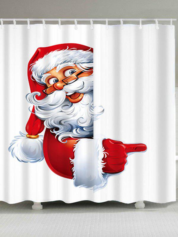 Santa Claus Printed Waterproof Polyester Christmas Shower CurtainHOME<br><br>Size: W71 INCH * L71 INCH; Color: WHITE; Products Type: Shower Curtains; Materials: Polyester; Pattern: Santa Claus; Style: Festival; Number of Hook Holes: W59 inch*L71 inch: 10; W71 inch*L71 inch: 12; W71 inch*L79 inch: 12; Package Contents: 1 x Shower Curtain 1 x Hooks (Set);