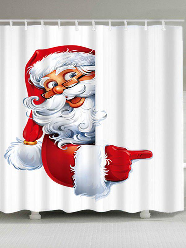 Santa Claus Printed Waterproof Polyester Christmas Shower CurtainHOME<br><br>Size: W59 INCH * L71 INCH; Color: WHITE; Products Type: Shower Curtains; Materials: Polyester; Pattern: Santa Claus; Style: Festival; Number of Hook Holes: W59 inch*L71 inch: 10; W71 inch*L71 inch: 12; W71 inch*L79 inch: 12; Package Contents: 1 x Shower Curtain 1 x Hooks (Set);