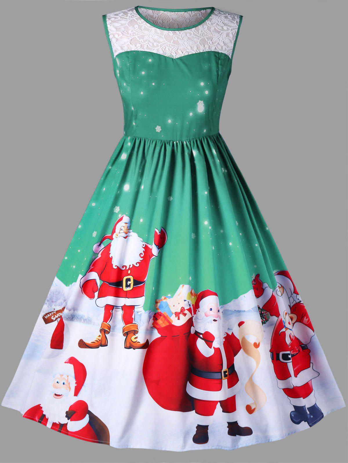 Christmas Plus Size Santa Claus Sleeveless Swing DressWOMEN<br><br>Size: 5XL; Color: GREEN; Style: Vintage; Material: Polyester; Silhouette: A-Line; Dresses Length: Knee-Length; Neckline: Round Collar; Sleeve Length: Sleeveless; Embellishment: Lace; Pattern Type: Animal,Character; With Belt: No; Season: Fall,Spring; Weight: 0.4200kg; Package Contents: 1 x Dress;