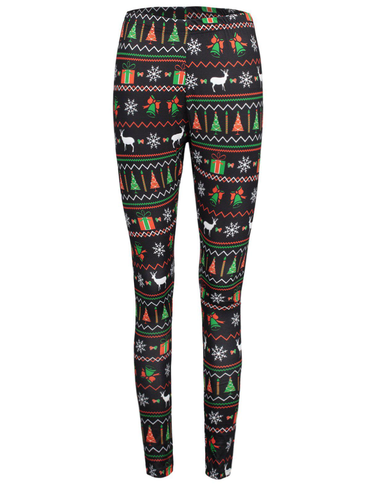 Christmas Ornaments Print Elastic Waist Workout LeggingsWOMEN<br><br>Size: M; Color: COLORMIX; Style: Casual; Material: Polyester,Spandex; Waist Type: Mid; Pattern Type: Print; Weight: 0.2200kg; Package Contents: 1 x Leggings;