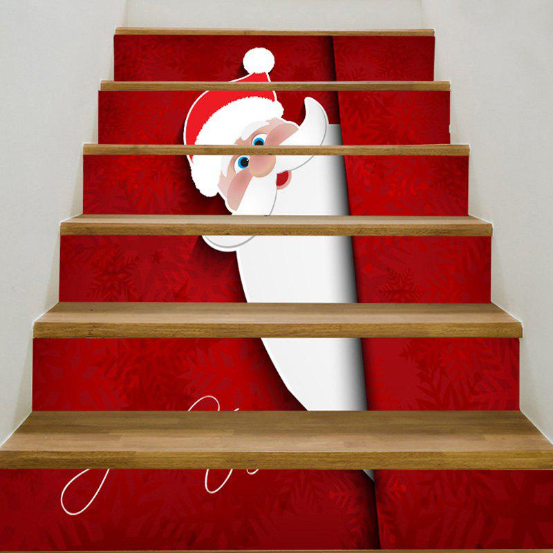 Decorative Father Christmas Printed Stair StickersHOME<br><br>Size: 6PCS:39*7 INCH( NO FRAME ); Color: RED; Wall Sticker Type: Plane Wall Stickers; Functions: Stair Stickers; Theme: Christmas; Pattern Type: Santa Claus; Material: PVC; Feature: Removable; Weight: 0.3100kg; Package Contents: 1 x Stair Stickers (Set);
