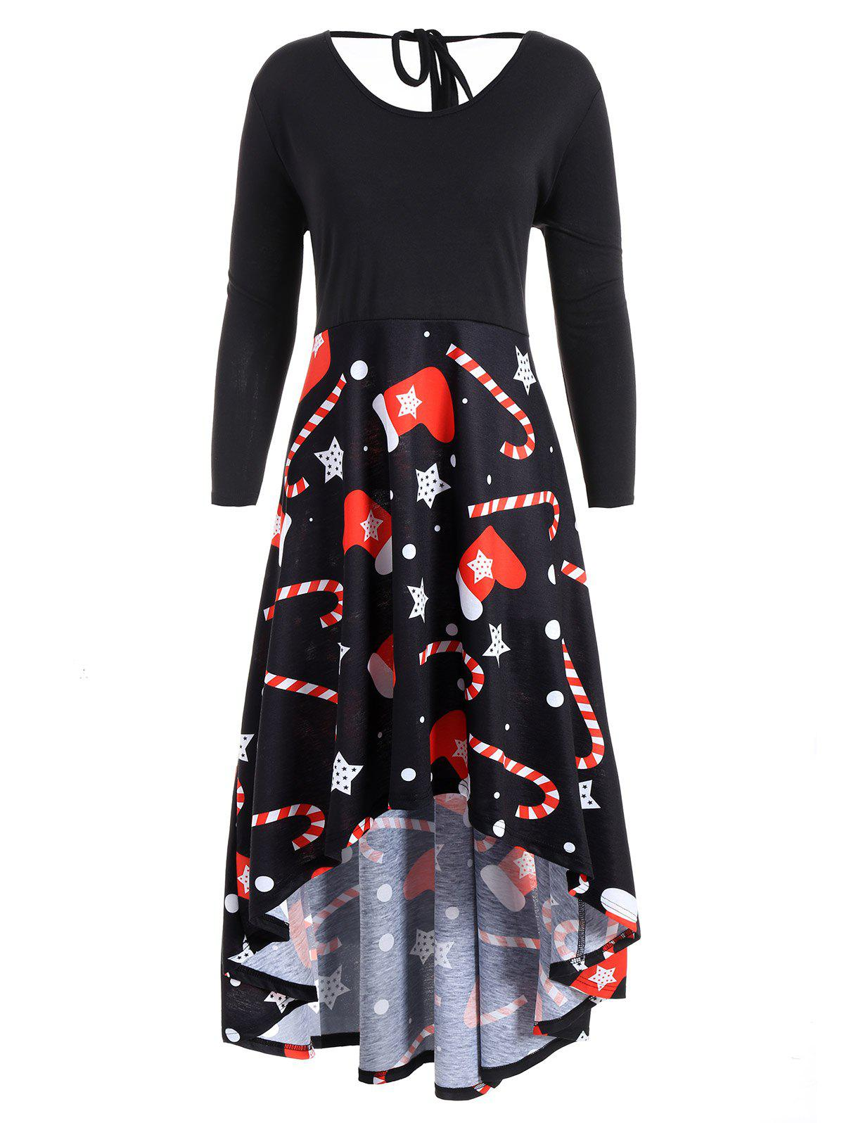 Christmas Print Plus Size High Low DressWOMEN<br><br>Size: XL; Color: BLACK; Style: Vintage; Material: Polyester; Silhouette: Asymmetrical; Dresses Length: Mid-Calf; Neckline: Round Collar; Sleeve Length: 3/4 Length Sleeves; Waist: High Waisted; Pattern Type: Print; With Belt: No; Season: Fall,Spring,Winter; Weight: 0.4400kg; Package Contents: 1 x Dress;