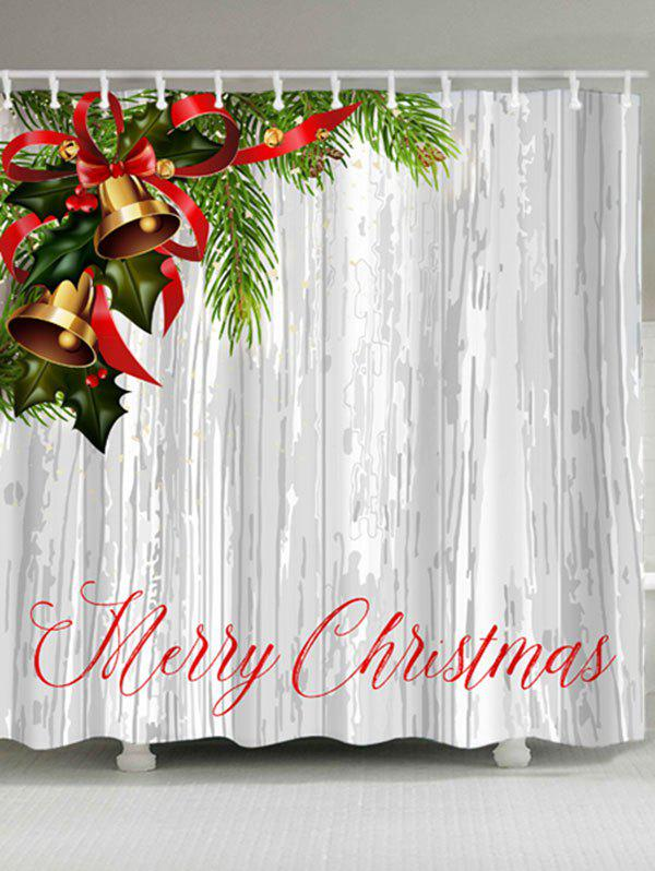 Merry Christmas Bells Print Polyester Waterproof Bath CurtainHOME<br><br>Size: W71 INCH * L79 INCH; Color: COLORMIX; Products Type: Shower Curtains; Materials: Polyester; Pattern: Letter; Style: Festival; Number of Hook Holes: W59 inch*L71 inch: 10; W71 inch*L71 inch: 12; W71 inch*L79 inch: 12; Package Contents: 1 x Shower Curtain 1 x Hooks (Set);