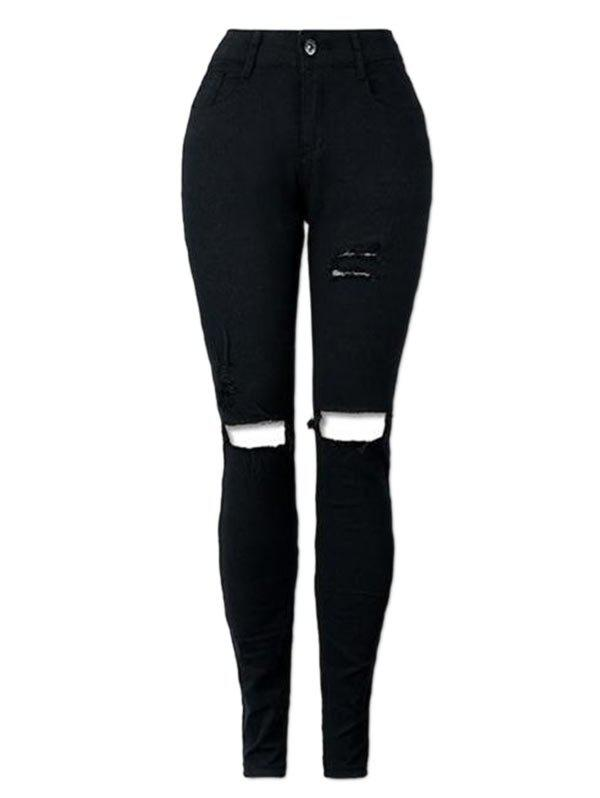 Skinny High Waisted Ripped JeansWOMEN<br><br>Size: L; Color: BLACK; Material: Polyester; Length: Normal; Wash: Destroy Wash; Fit Type: Skinny; Waist Type: High; Closure Type: Zipper Fly; Weight: 0.3500kg; Package Contents: 1 x Jeans;