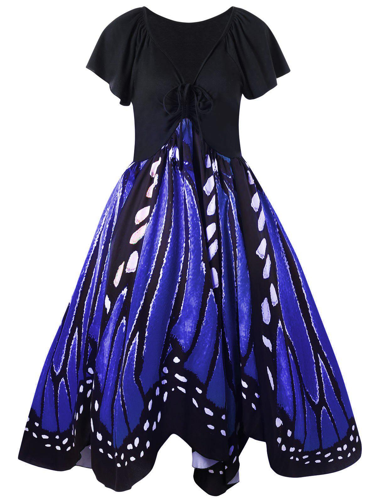 Plus Size Low Cut Butterfly Print Swing DressWOMEN<br><br>Size: 2XL; Color: BLUE; Style: Vintage; Material: Polyester,Spandex; Silhouette: A-Line; Dresses Length: Knee-Length; Neckline: Plunging Neck; Sleeve Length: Short Sleeves; Pattern Type: Butterfly; With Belt: No; Season: Fall,Spring; Weight: 0.3700kg; Package Contents: 1 x Dress;