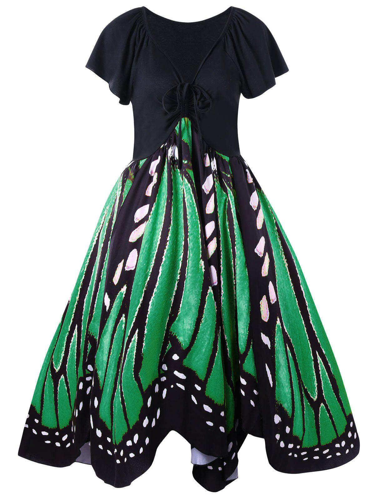 Plus Size Low Cut Butterfly Print Swing DressWOMEN<br><br>Size: 3XL; Color: GREEN; Style: Vintage; Material: Polyester,Spandex; Silhouette: A-Line; Dresses Length: Knee-Length; Neckline: Plunging Neck; Sleeve Length: Short Sleeves; Pattern Type: Butterfly; With Belt: No; Season: Fall,Spring; Weight: 0.3700kg; Package Contents: 1 x Dress;