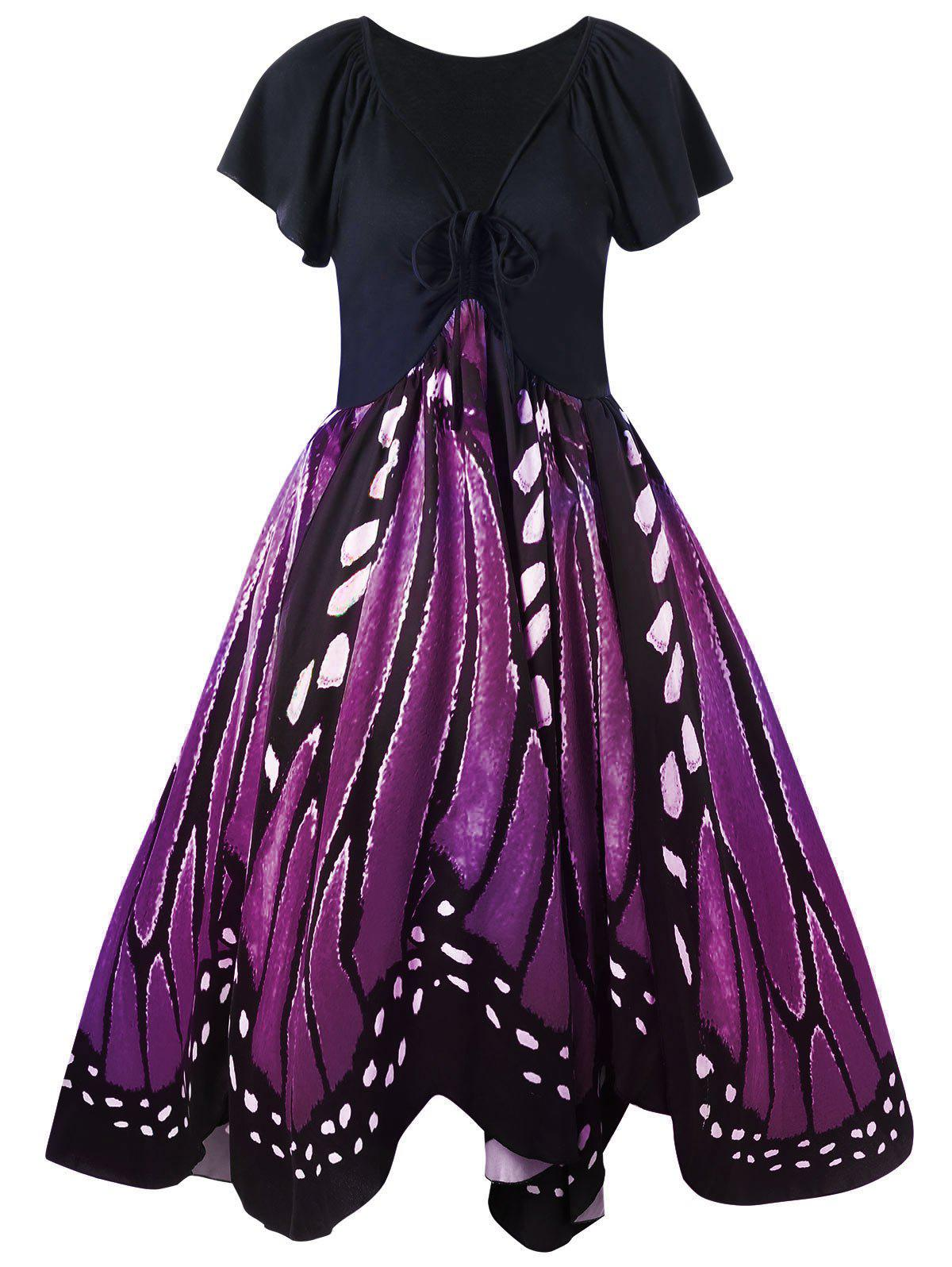 Plus Size Low Cut Butterfly Print Swing DressWOMEN<br><br>Size: XL; Color: PURPLE; Style: Vintage; Material: Polyester,Spandex; Silhouette: A-Line; Dresses Length: Knee-Length; Neckline: Plunging Neck; Sleeve Length: Short Sleeves; Pattern Type: Butterfly; With Belt: No; Season: Fall,Spring; Weight: 0.3700kg; Package Contents: 1 x Dress;