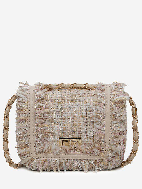 color block frayed edge plaid crossbody bag