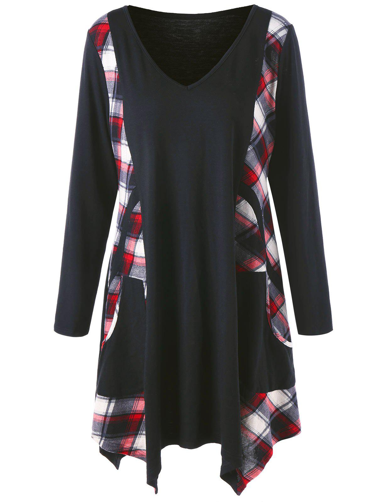 Plus Size Long Checked Panel  Tunic TopWOMEN<br><br>Size: 5XL; Color: BLACK; Material: Cotton Blends,Polyester; Shirt Length: Long; Sleeve Length: Full; Collar: V-Neck; Style: Casual; Season: Fall,Winter; Embellishment: Spliced; Pattern Type: Plaid; Weight: 0.3800kg; Package Contents: 1 x Top;