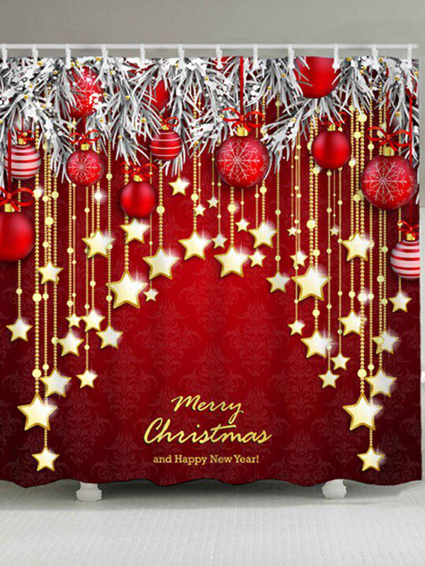 Christmas Star Ball Pattern Waterproof Polyester Bath CurtainHOME<br><br>Size: W71 INCH * L79 INCH; Color: DARK RED; Products Type: Shower Curtains; Materials: Polyester; Pattern: Ball,Star; Style: Festival; Number of Hook Holes: W59 inch*L71 inch: 10; W71 inch*L71 inch: 12; W71 inch*L79 inch: 12; Package Contents: 1 x Shower Curtain 1 x Hooks (Set);