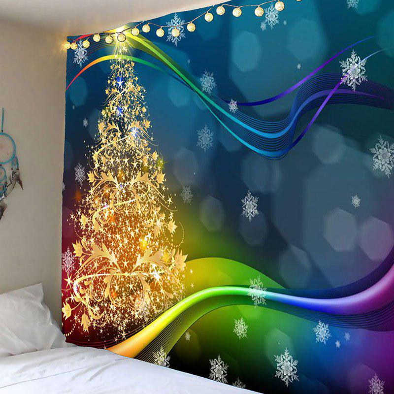 Waterproof Colored Lines Christmas Tree Printed Wall TapestryHOME<br><br>Size: W79 INCH * L79 INCH; Color: COLORFUL; Style: Festival; Theme: Christmas; Material: Polyester; Shape/Pattern: Tree; Weight: 0.4200kg; Package Contents: 1 x Tapestry;