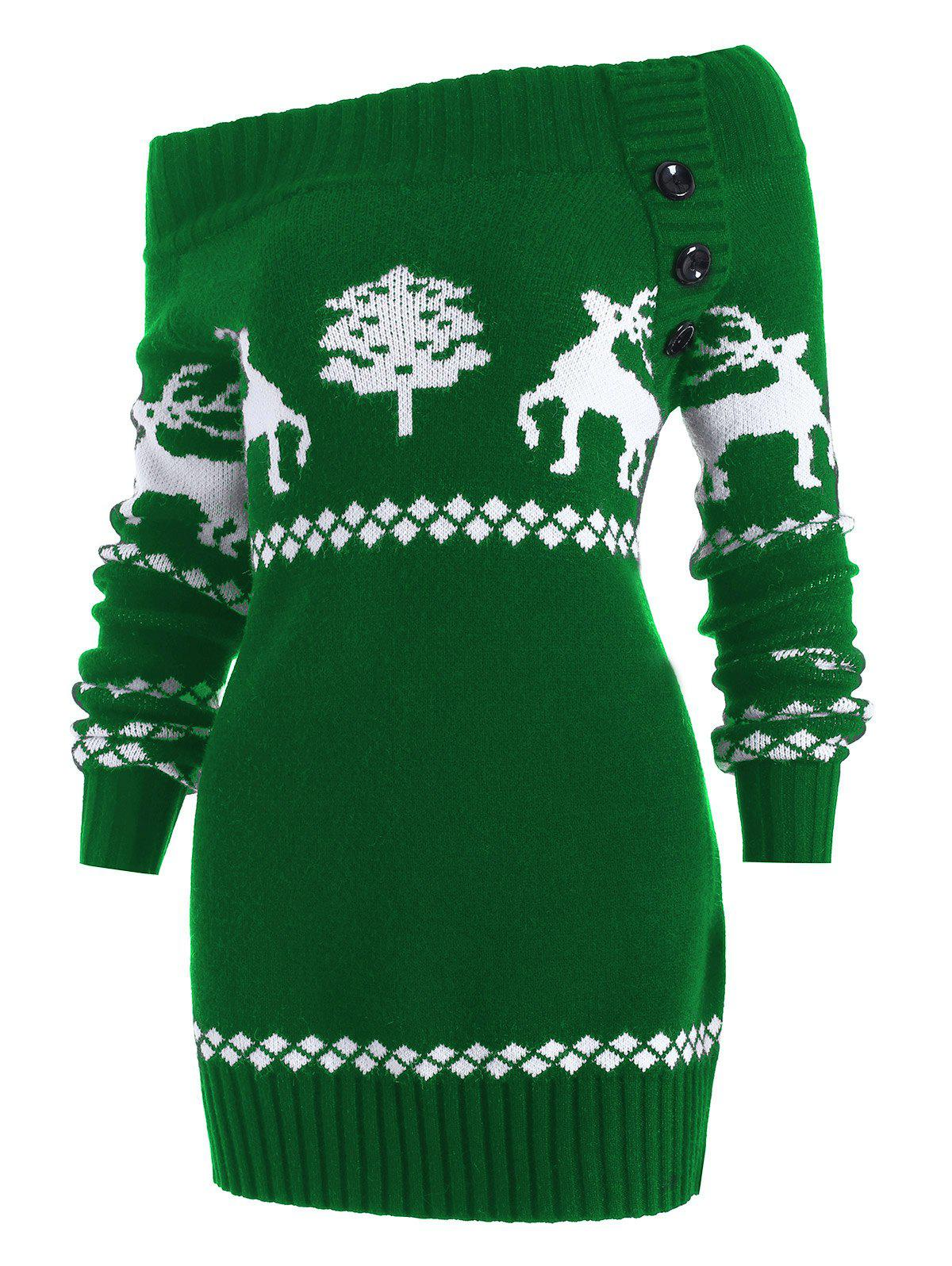 Discount Reindeer Off The Shoulder Knit Tunic Sweater