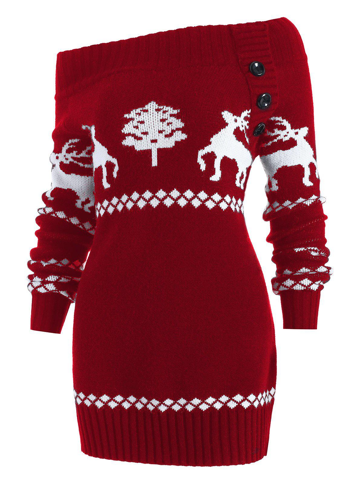 Reindeer Off The Shoulder Knit Tunic SweaterWOMEN<br><br>Size: XL; Color: RED; Type: Pullovers; Material: Acrylic; Sleeve Length: Full; Collar: Off The Shoulder; Style: Fashion; Pattern Type: Character; Season: Fall,Spring,Winter; Elasticity: Elastic; Weight: 0.5600kg; Package Contents: 1 x Sweater;