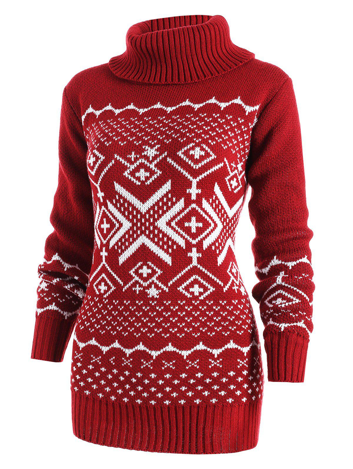 Cheap Geometric Pattern Turtleneck Tunic Sweater