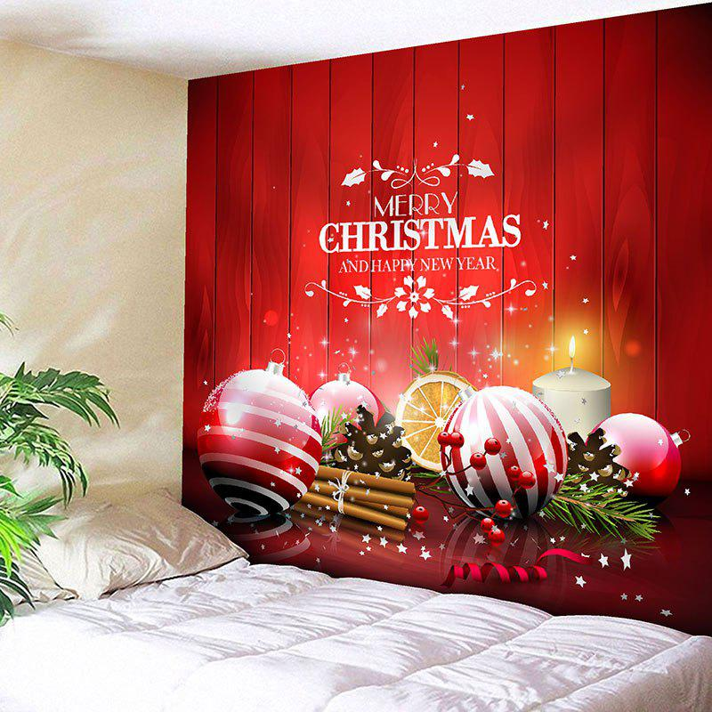 Wall Decor Christmas Balls Pattern TapestryHOME<br><br>Size: W71 INCH * L71 INCH; Color: RED; Style: Festival; Theme: Christmas; Material: Nylon,Polyester; Feature: Removable,Washable; Shape/Pattern: Ball,Letter; Weight: 0.2950kg; Package Contents: 1 x Tapestry;