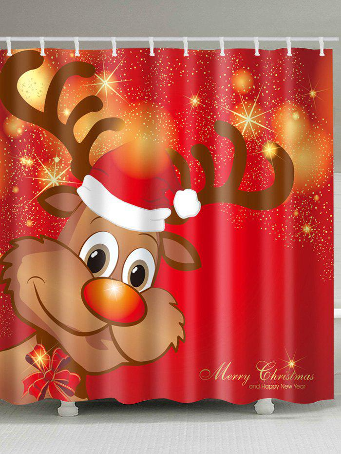 Christmas Cartoon Deer Print Waterproof Fabric Bathroom Shower CurtainHOME<br><br>Size: W59 INCH * L71 INCH; Color: COLORMIX; Products Type: Shower Curtains; Materials: Polyester; Pattern: Animal; Style: Festival; Number of Hook Holes: W59 inch*L71 inch: 10; W71 inch*L71 inch: 12; W71 inch*L79 inch: 12; Package Contents: 1 x Shower Curtain 1 x Hooks (Set);