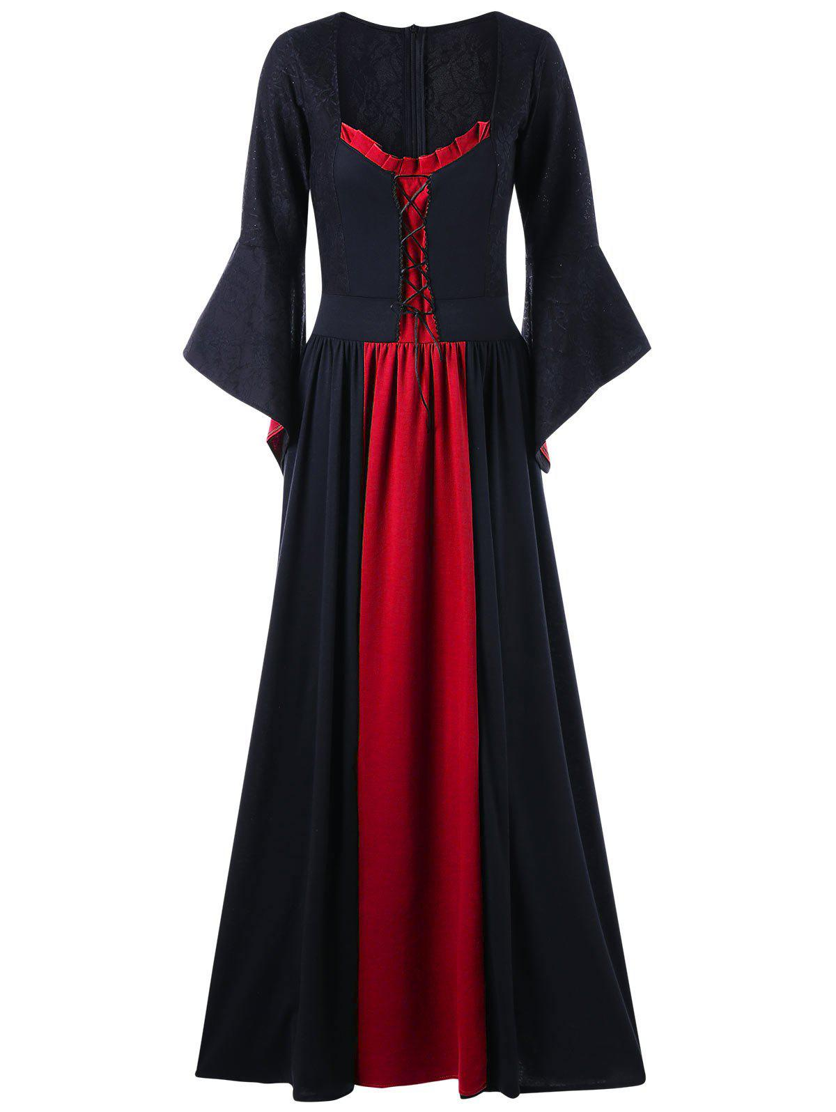 Plus Size Flare Sleeve Maxi Gothic DressWOMEN<br><br>Size: 5XL; Color: BLACK&amp;RED; Style: Gothic; Material: Polyester; Silhouette: A-Line; Dresses Length: Floor-Length; Neckline: Square Collar; Sleeve Length: Long Sleeves; Embellishment: Lace; Pattern Type: Solid; With Belt: No; Season: Fall,Spring; Weight: 0.7100kg; Package Contents: 1 x Dress;